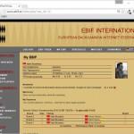08-EBIF_MyEBIF_LoggedIn - MY EBIF sayfası üyelik bilgilerinizi ve katıldığınız turnuvalardaki eşleşmelerinizi gösterir
